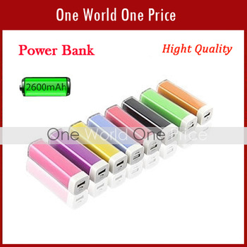 Power Bank External Battery Charger lipstick 2600mah suitable for samsung iphone htc LG etc with mini USB Cable