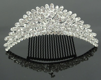 2013 New design crystal pageant crown bling silver bridal hair comb rhinestone wedding hair accessories free shipping