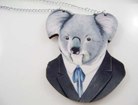 Wholesale Rosgd001 Game symbol wood Koala head pendant factory direct sale long chain necklace Free Shipping
