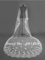 2013 Accessories Sell  Hot 1 layers White/Ivory Applique Lace Edge Wedding Veil Bridal Veil In Stock