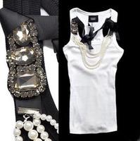 New 2013 summer ladies vest brand luxury beading decoration fashion slim women's tank tops