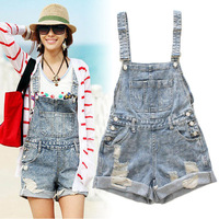 FREE SHIPPING Girsl Washed Jeans Denim Casual Hole Jumpsuit Romper Crimping Overall Short 10049