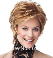 women's Natural light brown and blonde short hair wig synthesis wigs Factory Price free shipping