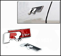 R-line Red Color 3D Metal Emblem Badge Logo Alloy Car Logo Front Grill Badge car decoration car tuning Free shipping