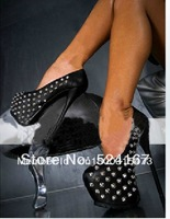 Latest  fashion plateform pumps daffodile riverts studded  sexy high heel black party shoes fpr women