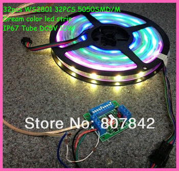 Waterproof IP67 Tube 5M , dream color digital  RGB 5050 Led strip,WS2801 32led/M 32ic/M free shipping