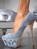 2013 western rhinestone stiletto pumps women vintage night club high heel shoes denim