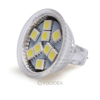 2Pcs/Lot MR11 9 LED 5050 Warm White Pure White led Lamp 12V AC free shipping