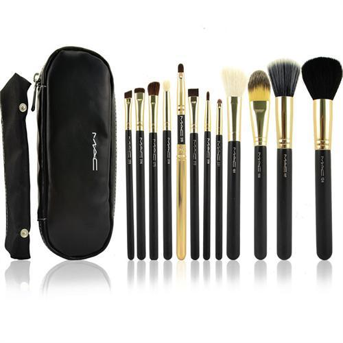 many designs and colors, Professional Makeup Brush 12pc Cosmetic Set Goat hair+Case Bag Kit/Cup,free shipping(China (Mainland))