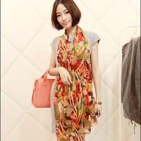 Spring and autumn carriage colorful faux silk ultra long silk scarf chiffon big scarf beach towel cape