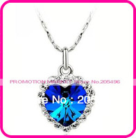 HOT SALE!! eco-friendly zinc alloy Titanic blue heart of the ocean crystal necklace 7 colours Free Shipping wholesale 5pcs/lot