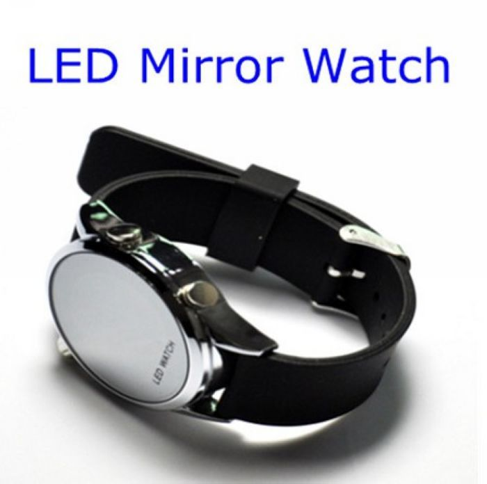 Fashion LED Digital Wrist Sport Mirror Watch Clock Women Man free shipping(China (Mainland))