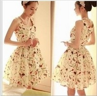 New arrival chiffon women dress Vintage printed floral ladies dress Wonderful Royal Style High Waist female one-piece dress NQ88