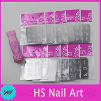 Free shipping  rectangle B series 10Pcs Stainless Steel Stamping Image Plate+Stamp & Scrap+1 Free Gift Nail Art Decoration