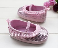 Free shipping wholesale 2013 fashion chic shine  pink blings +flounce princess shoes styles BB  shoes/infant shoes/prewalkers