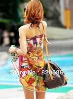 Wholesale 5pcs/lot Free Shipping 2013 Sexy Bikini Cover up Fashion Women Beach Wraps Chiffon Scarf Sarong for Swimwear -Apollo