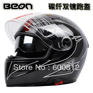 Motorcross Helmet High quality dual lens beon carbon fiber helmet motorcycle race automobile speed reducer open face helmets