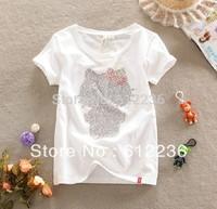 2013 lovely Stylish Hello Kitty Summer Girl Cartoon T-shirt Cute Leisure Cotton Printing short sleeve T-Shirt  dropship