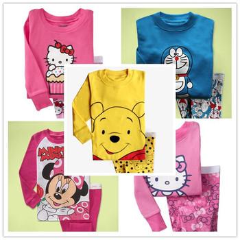 Free shipping new 2014 Cartoon children clothing sets Hello Kitty for boys and girls pajamas set pijamas pyjamas clothes spring