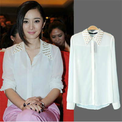 2013 Korean Fashion Women Chiffon Blouses New Metal Rivets Rivets Decorative Shirt Turn-down Collar Chiffon Solid Color Tops(China (Mainland))