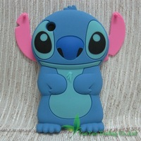 Free Shipping 3D Cute Cartoon Stitch Movable Pink Ears Rubber Silicone Soft Case Cover Skin For iPhone 3 3G 3GS