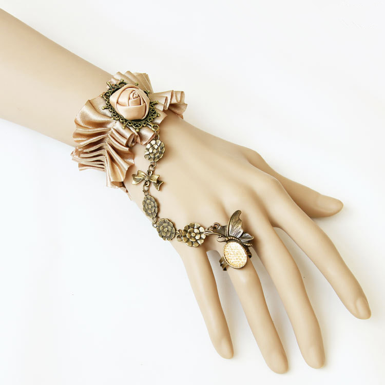 Royal vintage accessories fashion punk gothic elegant bracelet with ring set wristiest female(China (Mainland))