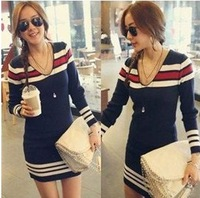 Top sale!High quality!hot sale casual V neck long sleeve blue stripe tunic sweater dresses women sweaters