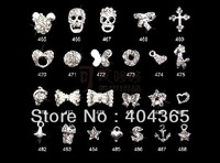 20 pcs mixed style DIY  phones nails glitter rhinestones alloy 3d bow nail art decoration NRD032 series