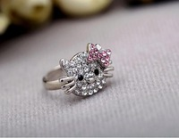 free shipping (50pcs/lot) Acrylic Silver plated hello kitty Ring Best Quality