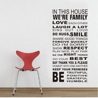 House Rules WE'RE FAMILY Removable Wall Stickers Quotes Vinyl kids Decor Home Wall Paper Sticker for Home or business