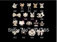 10 pcs mixed style DIY  phones nails glitter rhinestones alloy 3d bow nail art decoration NRD034 series