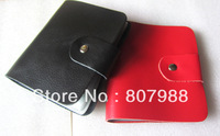 Free shipping ! 40 slots Genuine leather black /red 2 color women/men style business /Credit/ID Card holder  case wallet CB01