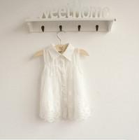 new items 2013 summer child cute white chiffon lace gauze turn-down collar sleeveless shirt baby princess blouse 5pcs/lot