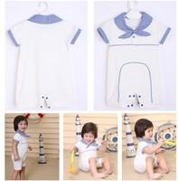 Free Shipping Children Kids short sleeve blue stripe Baby Romper