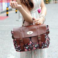 Hot sale 2014 spring new fashion women canvas +pu leather handbag vintage mini flower pockets bag women messenger bags handbags