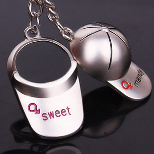 Creative couple key ring cute sweet Baseball hat jewelry Lover's keychains,key chain gift to friend(China (Mainland))