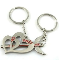 Creative couple key ring cute one arrow overgo two heart jewelry Lover's keychains,key chain gift to friend