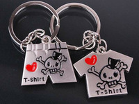 free shipping 30pcs key Cute t-shirt shorts couple key chain skull underwear couple key chain logo