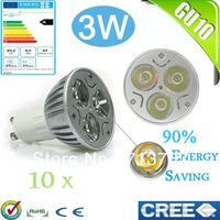 Factory directly sale 10pcs/lot CREE Bulb led bulb GU10 3w 3x1W 110V 220V Dimmable led Light led lamps spotlight free shipping