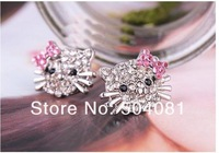 free shipping (24 pair/lot) Silver plated hello kitty Earrings Best Quality
