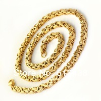 XL229 23.6'' strong men's Great quality jewelry 18K gold  Stainless Steel 5.5mm byzantine chain necklace,free shipping