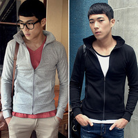 Uyuk slim stand collar outerwear male zipper-up sweatshirt male