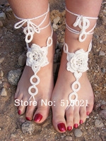 Free Shipping Crochet Barefoot Sandals, Anklet Barefoot Sandals, Foot jewelry, Steampunk, wedding, beach, Sexy, white beige