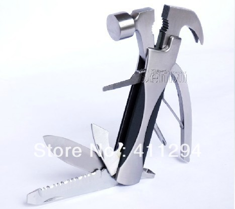 Free Shipping Multifunction Safety Hammer Car Camping Outdoor Axe Household Emergency Escape Pliers Combination Tool-13 In 1(China (Mainland))