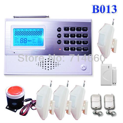Wireless Home Alarm System w/ Auto Dialer 4 motion sensor 1 door alarms 1 siren 2 keychains house safety Surveillance(China (Mainland))