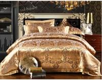 Luxury Tribute Silk Jacquard bedding set queen king size 4pc Satin comforter/quilt/duvet cover bedclothes bed sheet home textile