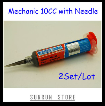 2013 Newest 2Set/Lot 10CC MECHANIC Solder Paste Flux XG-Z40 with 2PCS Free Needle Heads, Free Shipping