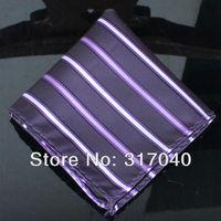 Free Shipping Marriage Hankerchiefs Men's Purple Wide Stripes hanky /party hankies/pocket squares