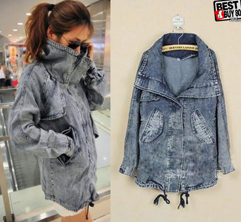 fashion Womens Stand-up Collar Wash Pale Denim Jacket Coat Outerwear DM003(China (Mainland))