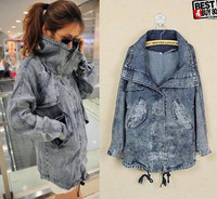 fashion  Womens Stand-up Collar Wash Pale Denim Jacket  Coat Outerwear